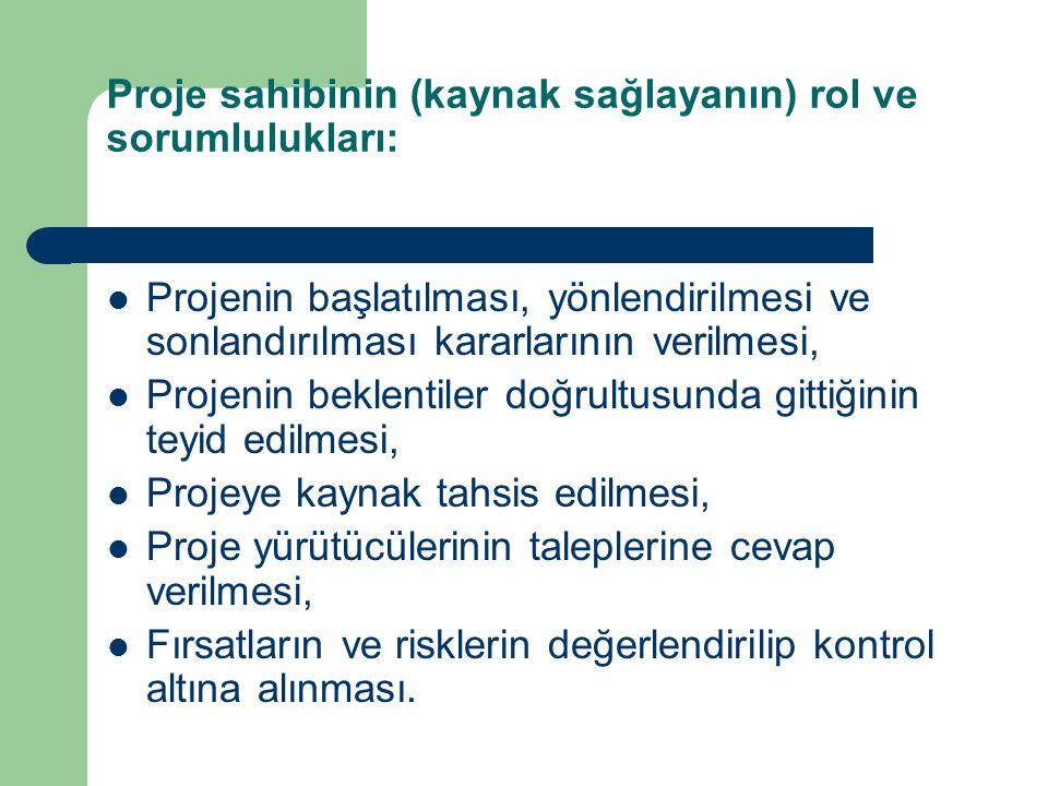 Proje sahibinin (kaynak sağlayanın) rol ve sorumlulukları: