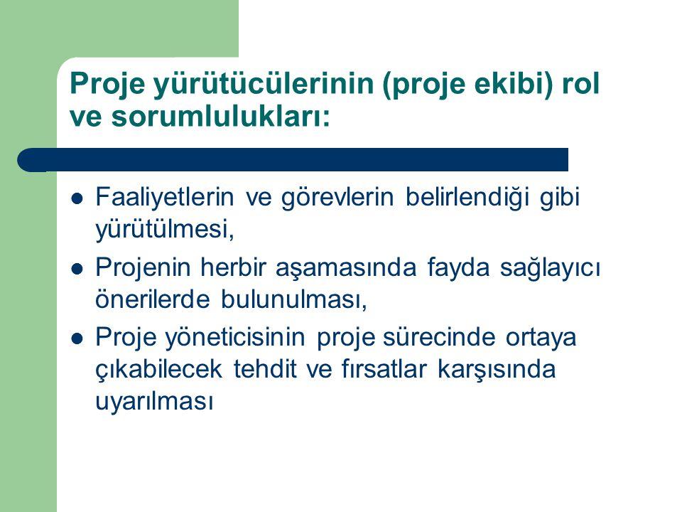 Proje yürütücülerinin (proje ekibi) rol ve sorumlulukları: