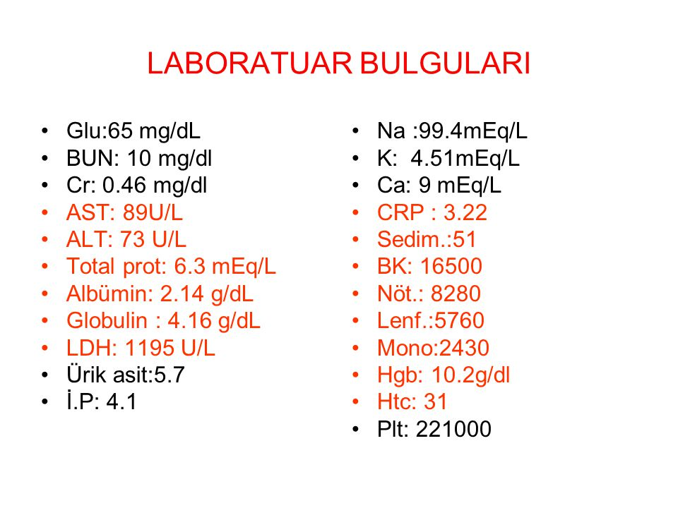 LABORATUAR BULGULARI Glu:65 mg/dL BUN: 10 mg/dl Cr: 0.46 mg/dl