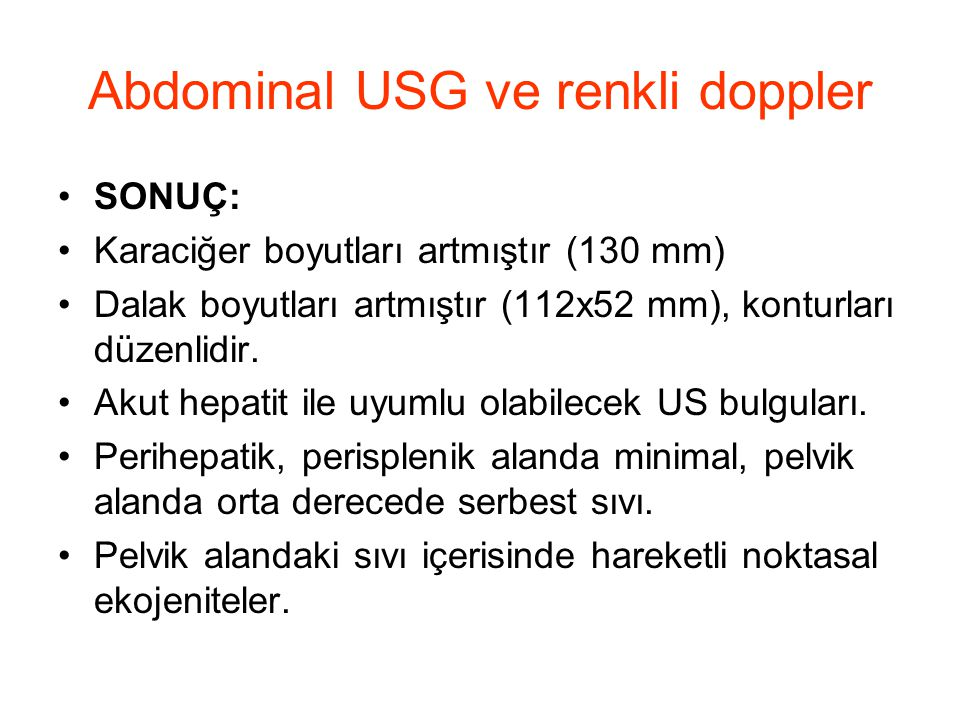 Abdominal USG ve renkli doppler