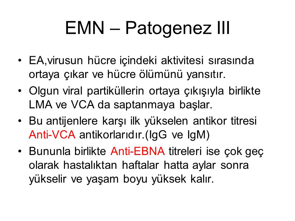 EMN – Patogenez III EA,virusun hücre içindeki aktivitesi sırasında ortaya çıkar ve hücre ölümünü yansıtır.