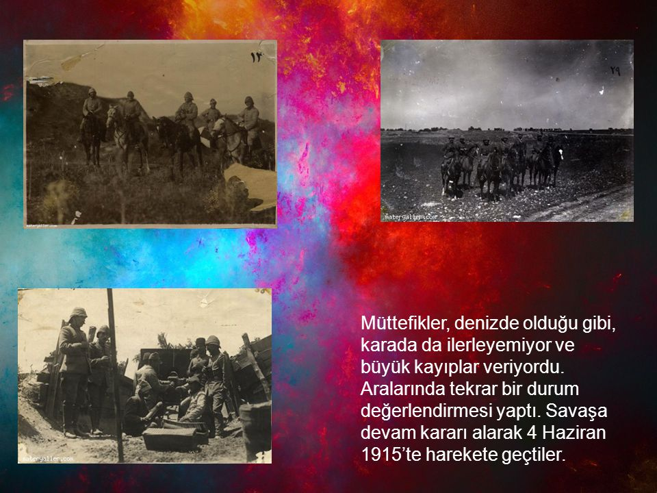 Müttefikler, denizde olduğu gibi, karada da ilerleyemiyor ve büyük kayıplar veriyordu.