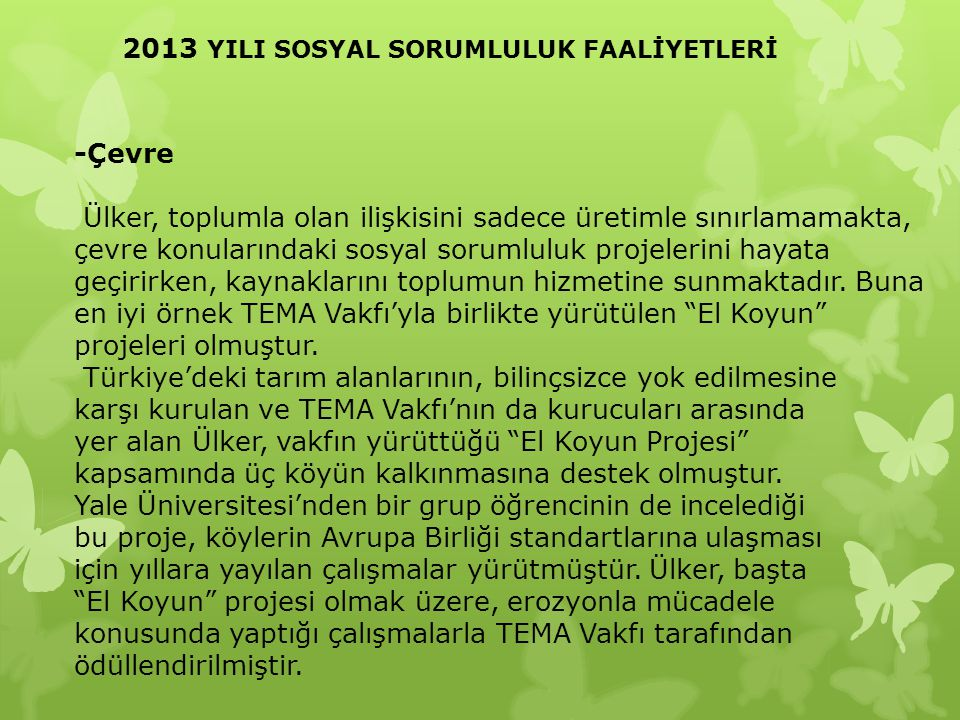 2013 YILI SOSYAL SORUMLULUK FAALİYETLERİ