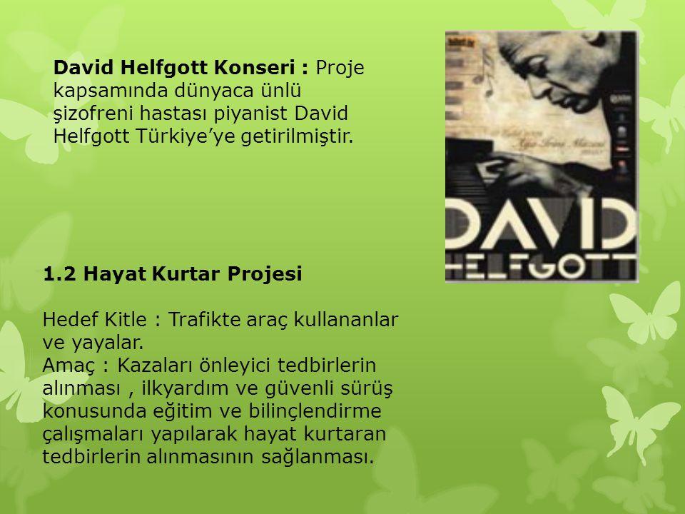 David Helfgott Konseri : Proje kapsamında dünyaca ünlü şizofreni hastası piyanist David Helfgott Türkiye'ye getirilmiştir.