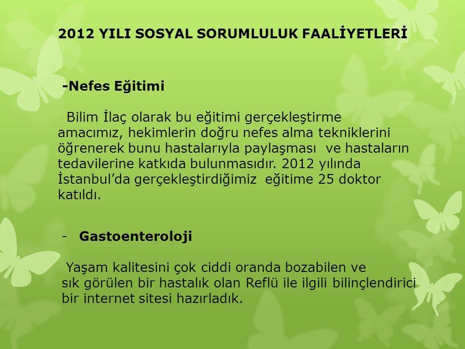 2012 YILI SOSYAL SORUMLULUK FAALİYETLERİ