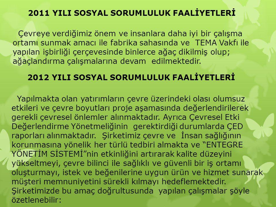 2011 YILI SOSYAL SORUMLULUK FAALİYETLERİ