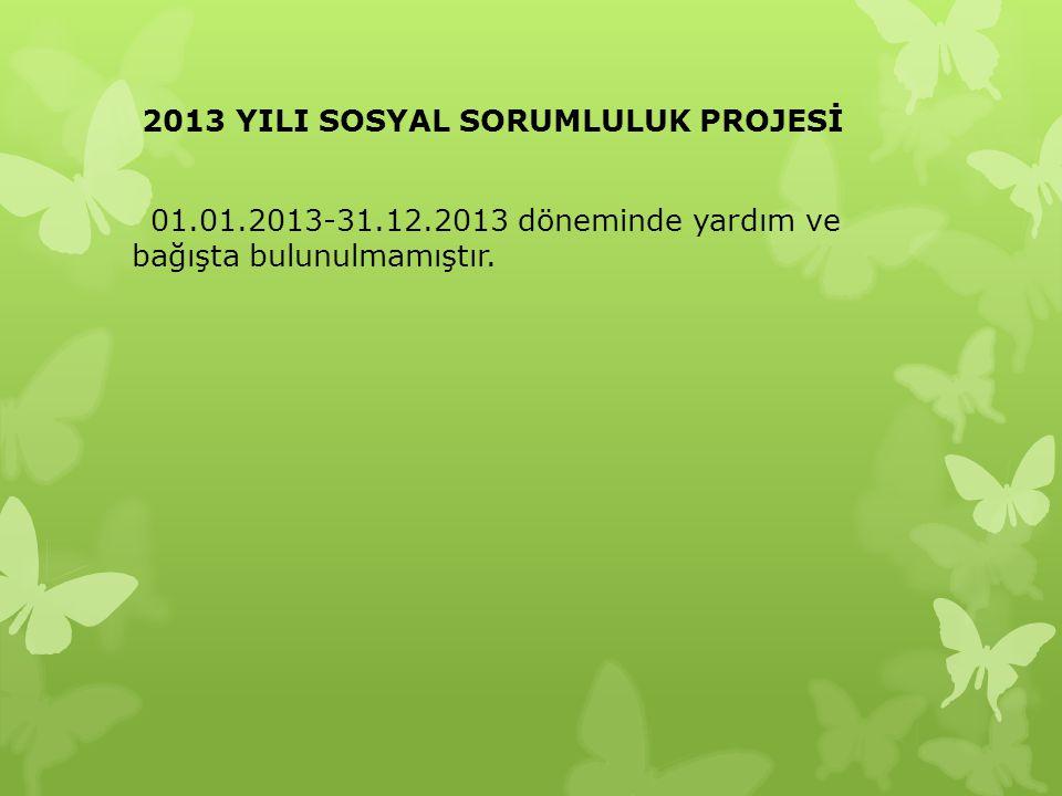 2013 YILI SOSYAL SORUMLULUK PROJESİ