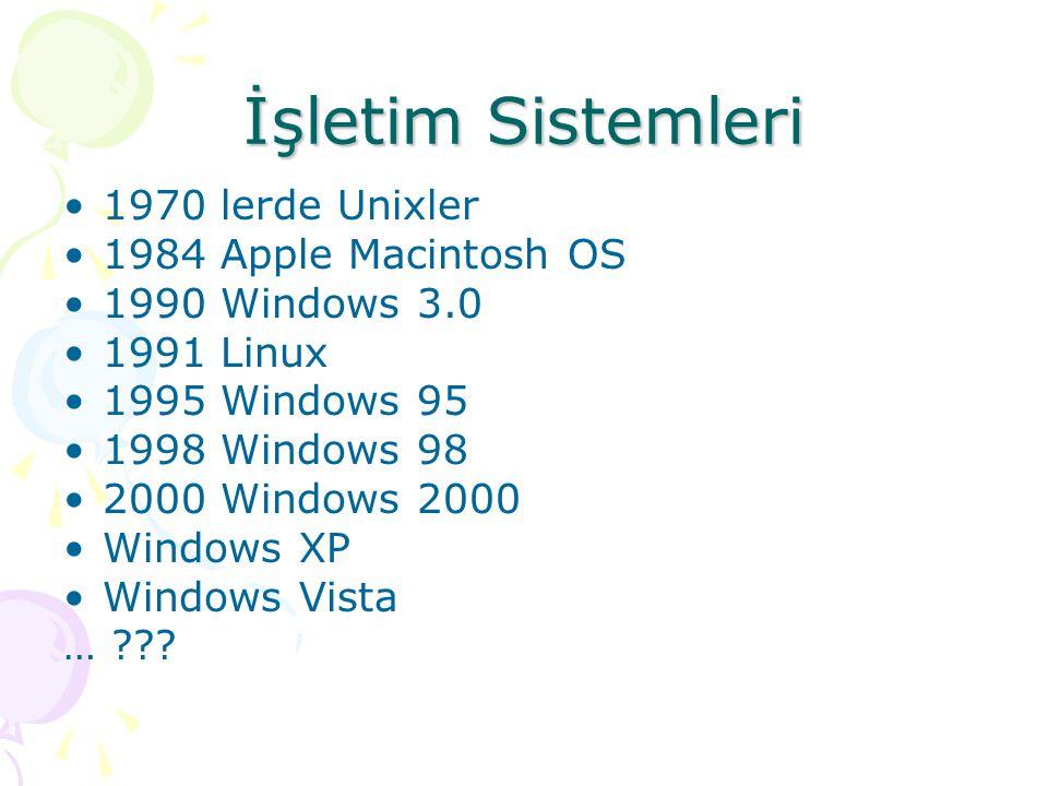 İşletim Sistemleri 1970 lerde Unixler 1984 Apple Macintosh OS