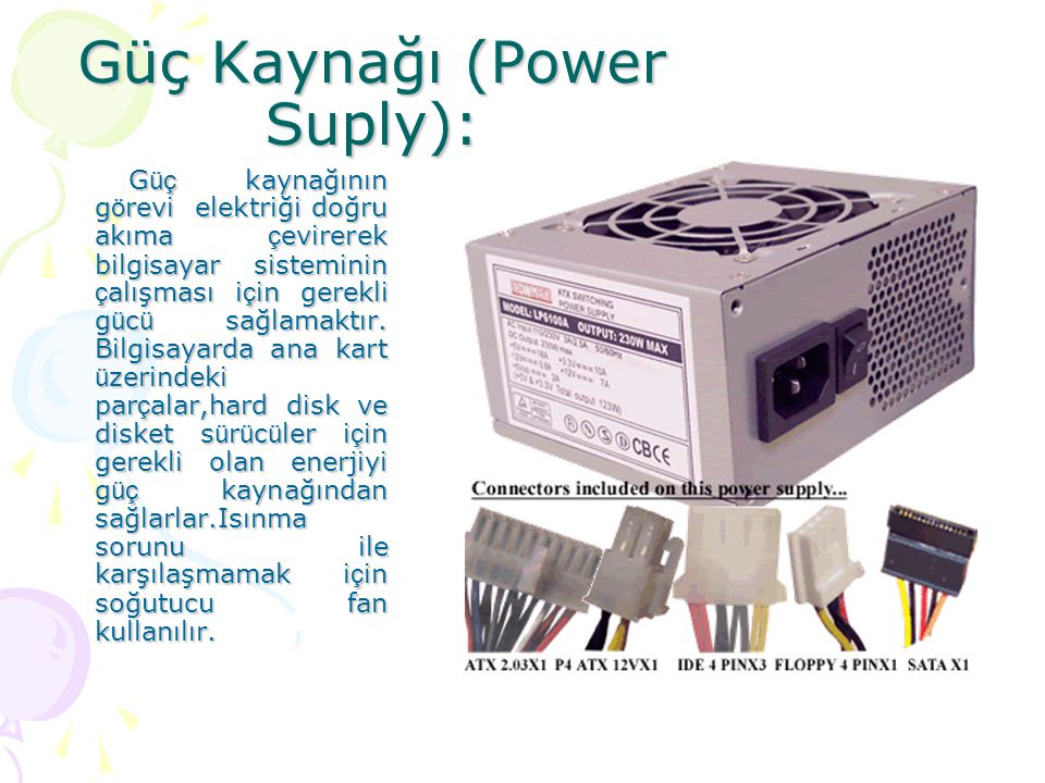 Güç Kaynağı (Power Suply):