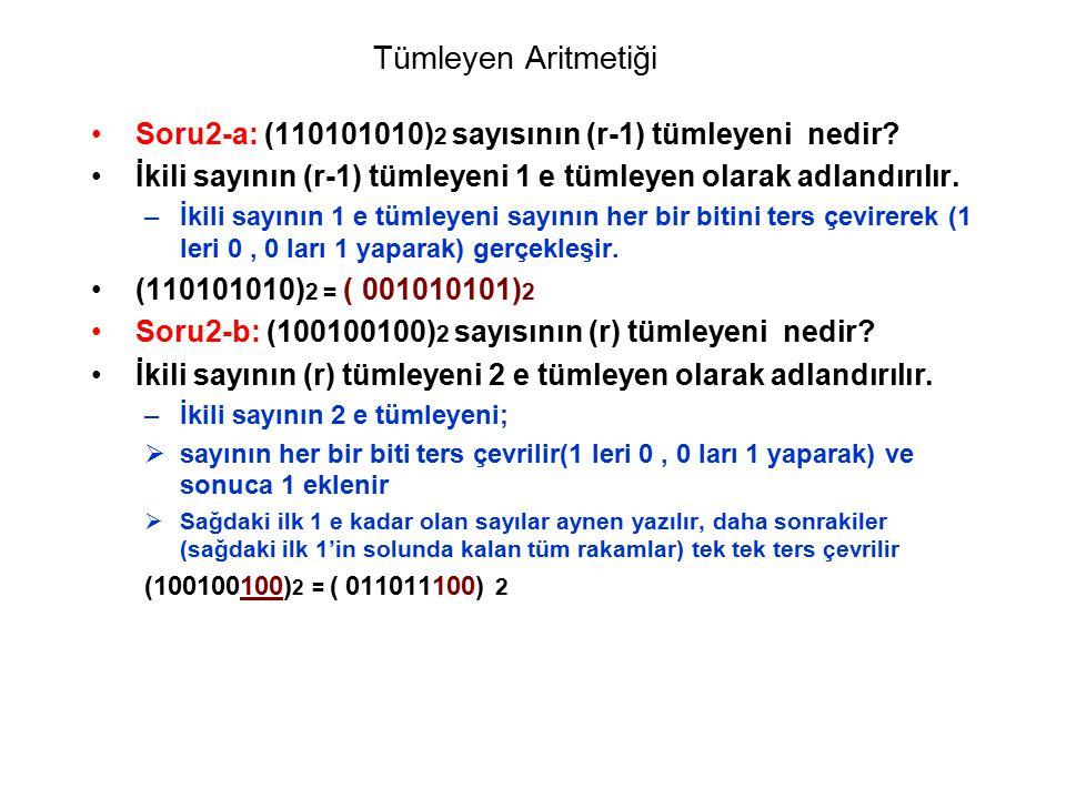 Tümleyen Aritmetiği Soru2-a: (110101010)2 sayısının (r-1) tümleyeni nedir İkili sayının (r-1) tümleyeni 1 e tümleyen olarak adlandırılır.