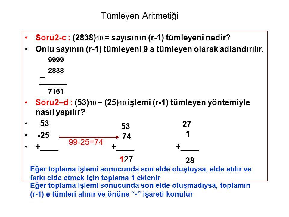 Tümleyen Aritmetiği Soru2-c : (2838)10 = sayısının (r-1) tümleyeni nedir Onlu sayının (r-1) tümleyeni 9 a tümleyen olarak adlandırılır.