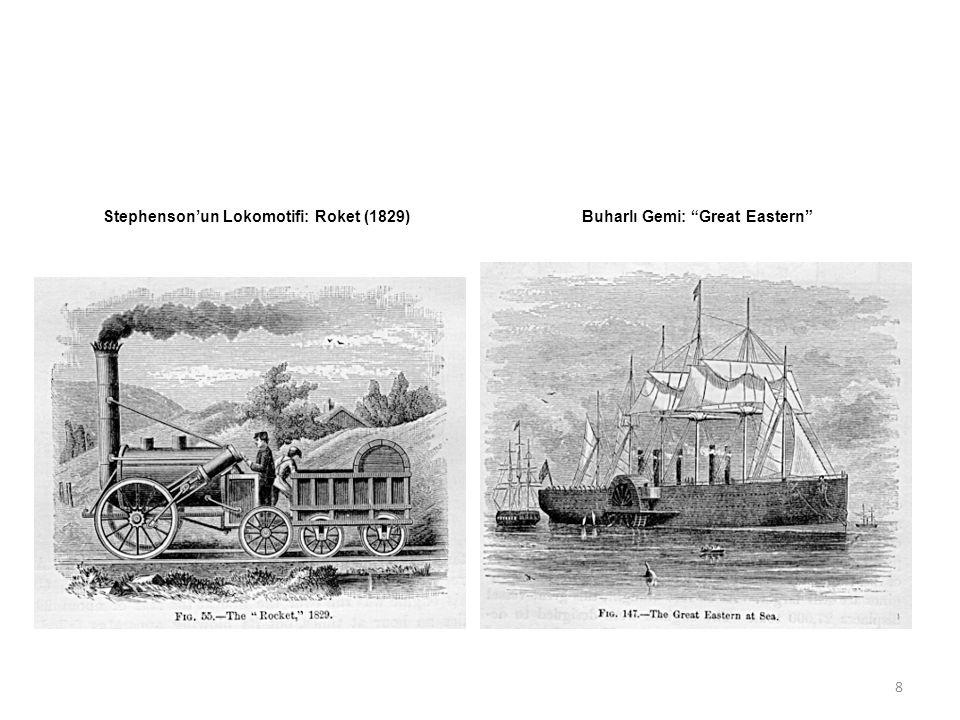 Stephenson'un Lokomotifi: Roket (1829) Buharlı Gemi: Great Eastern