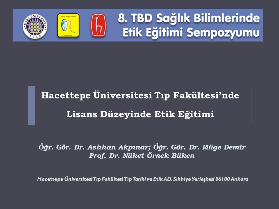 Hacettepe Üniversitesi Tıp Fakültesi'nde Lisans Düzeyinde Etik Eğitimi