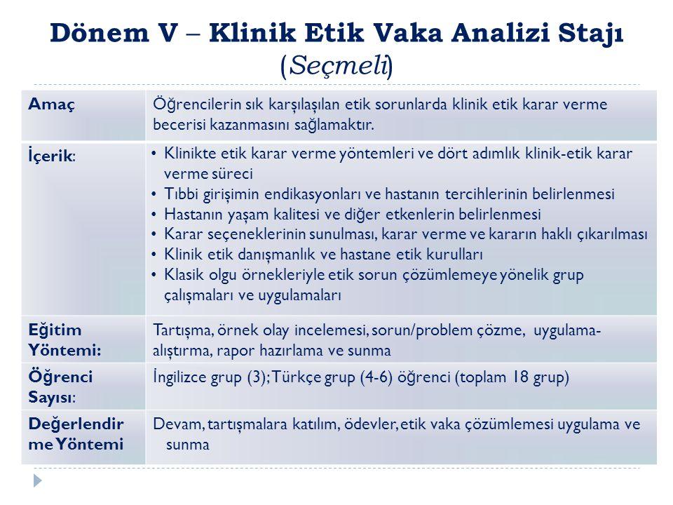 Dönem V – Klinik Etik Vaka Analizi Stajı (Seçmeli)