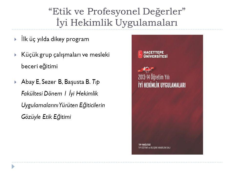 Etik ve Profesyonel Değerler İyi Hekimlik Uygulamaları