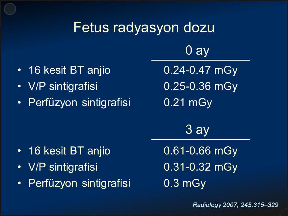 Fetus radyasyon dozu 0 ay 3 ay 16 kesit BT anjio V/P sintigrafisi
