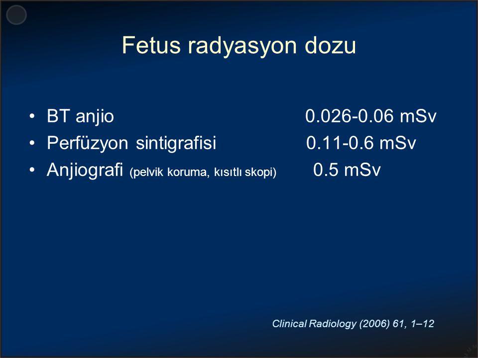 Fetus radyasyon dozu BT anjio 0.026-0.06 mSv