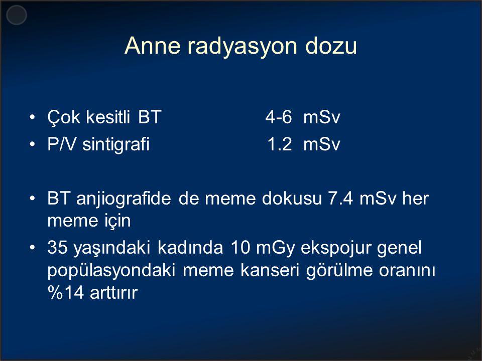 Anne radyasyon dozu Çok kesitli BT 4-6 mSv P/V sintigrafi 1.2 mSv