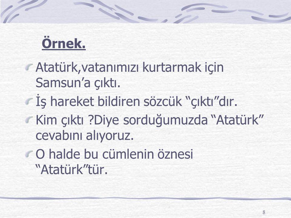 Örnek. Atatürk,vatanımızı kurtarmak için Samsun'a çıktı. İş hareket bildiren sözcük çıktı dır.
