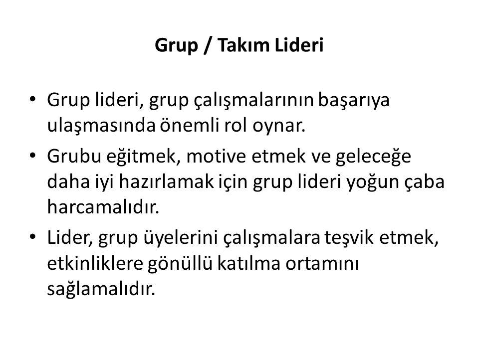 Grup / Takım Lideri Grup lideri, grup çalışmalarının başarıya ulaşmasında önemli rol oynar.