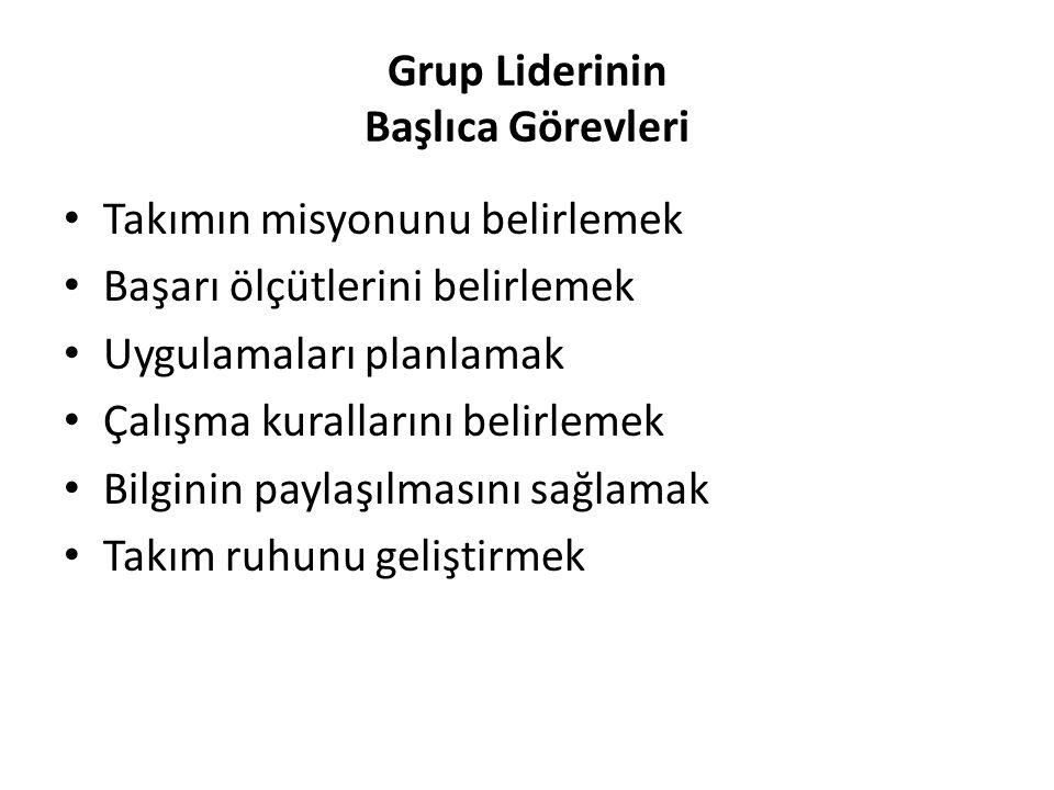 Grup Liderinin Başlıca Görevleri