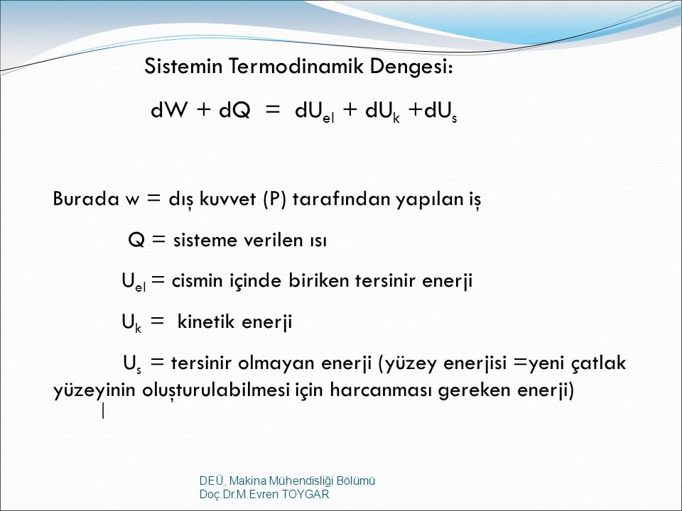 Sistemin Termodinamik Dengesi: dW + dQ = dUel + dUk +dUs
