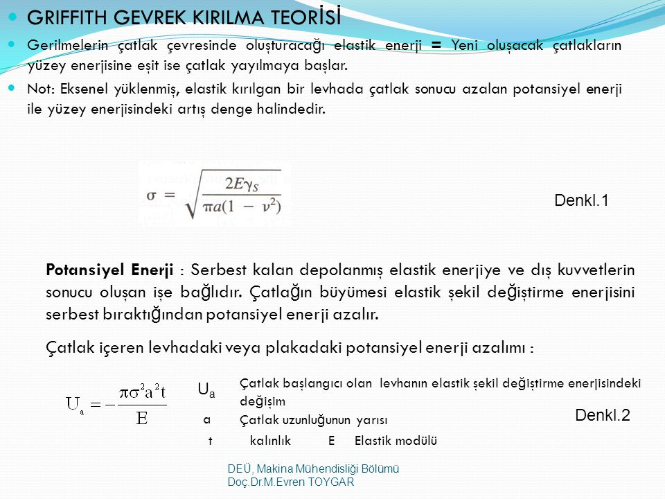 GRIFFITH GEVREK KIRILMA TEORİSİ