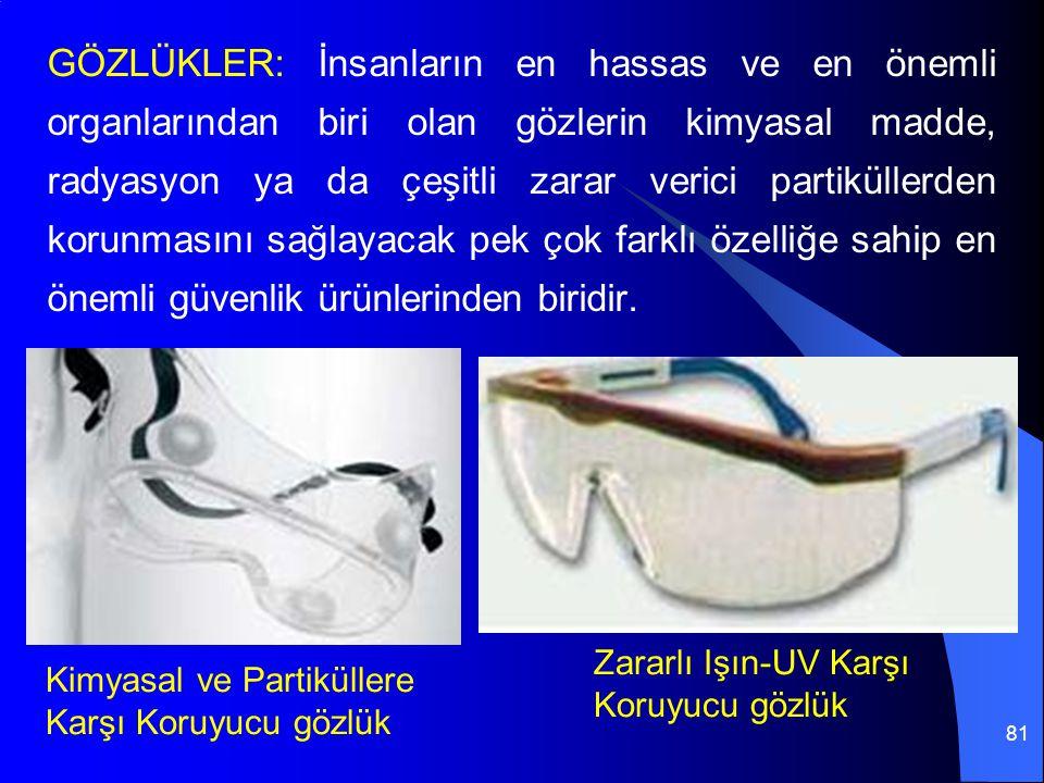 GÖZLÜKLER: İnsanların en hassas ve en önemli organlarından biri olan gözlerin kimyasal madde, radyasyon ya da çeşitli zarar verici partiküllerden korunmasını sağlayacak pek çok farklı özelliğe sahip en önemli güvenlik ürünlerinden biridir.