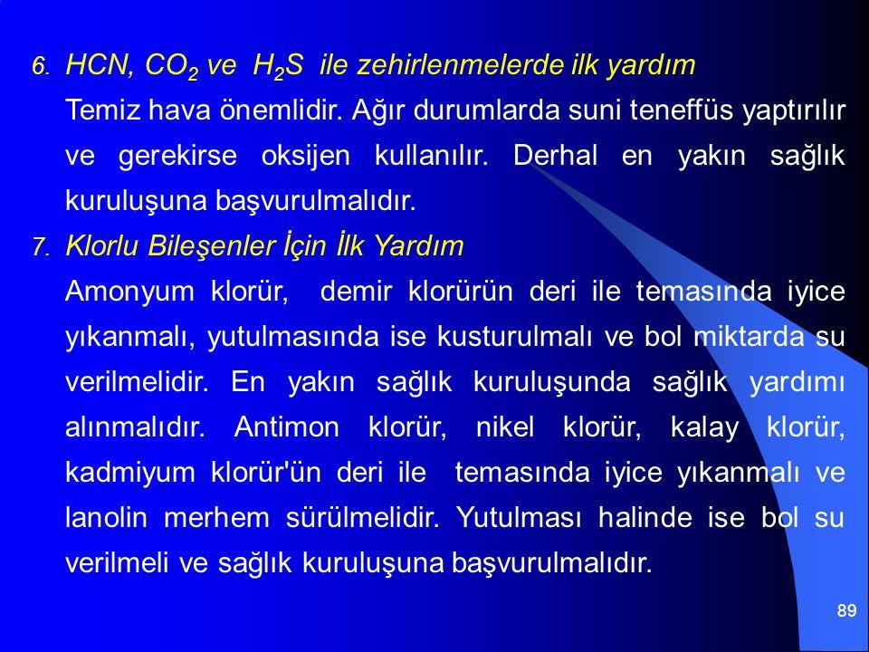 HCN, CO2 ve H2S ile zehirlenmelerde ilk yardım