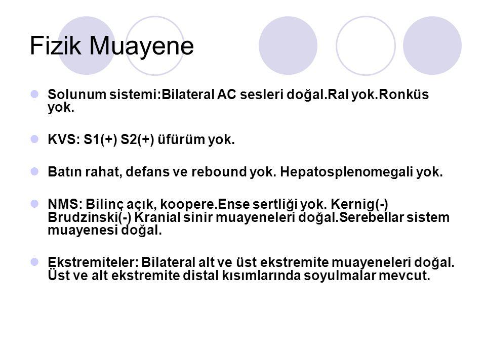 Fizik Muayene Solunum sistemi:Bilateral AC sesleri doğal.Ral yok.Ronküs yok. KVS: S1(+) S2(+) üfürüm yok.