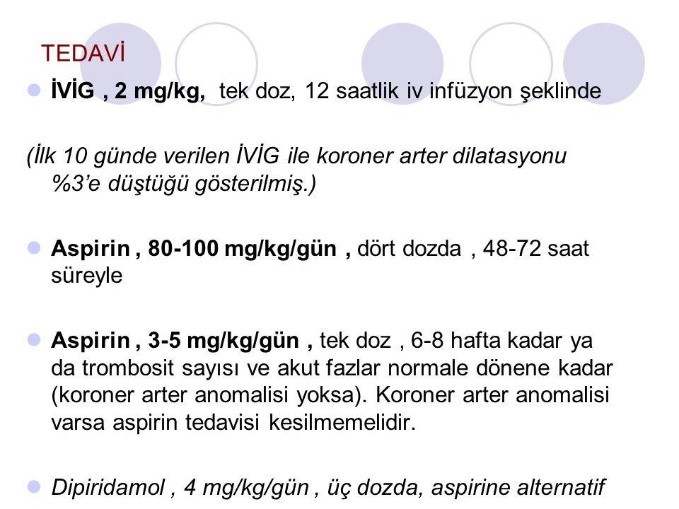 TEDAVİ İVİG , 2 mg/kg, tek doz, 12 saatlik iv infüzyon şeklinde