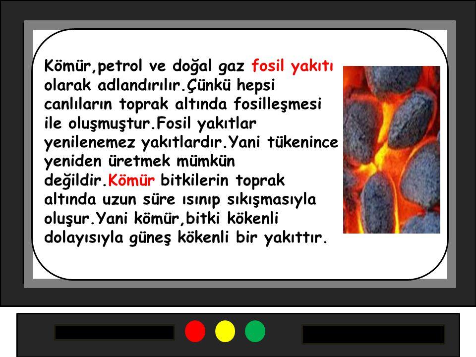 Kömür,petrol ve doğal gaz fosil yakıtı olarak adlandırılır