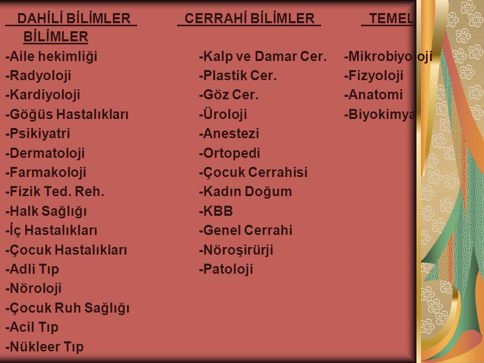 DAHİLİ BİLİMLER CERRAHİ BİLİMLER TEMEL BİLİMLER