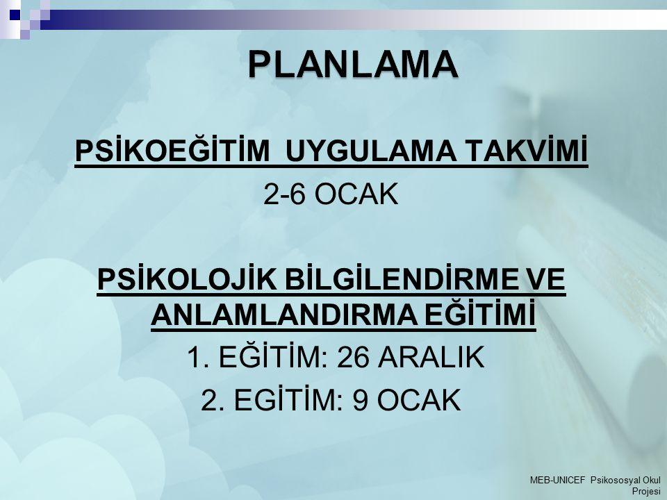 PLANLAMA PSİKOEĞİTİM UYGULAMA TAKVİMİ 2-6 OCAK