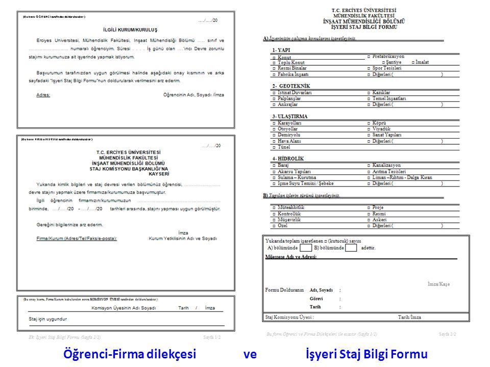 Öğrenci-Firma dilekçesi ve İşyeri Staj Bilgi Formu