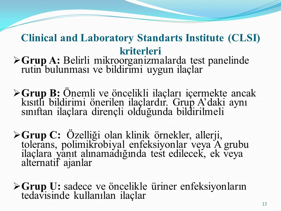 Clinical and Laboratory Standarts Institute (CLSI) kriterleri