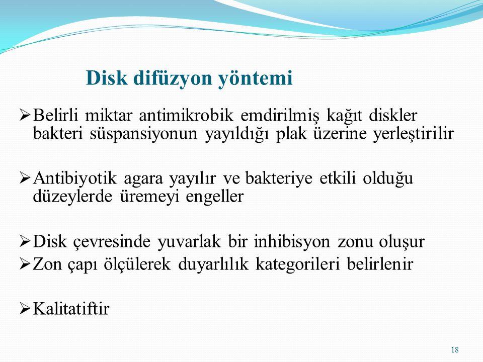 Disk difüzyon yöntemi Belirli miktar antimikrobik emdirilmiş kağıt diskler bakteri süspansiyonun yayıldığı plak üzerine yerleştirilir.