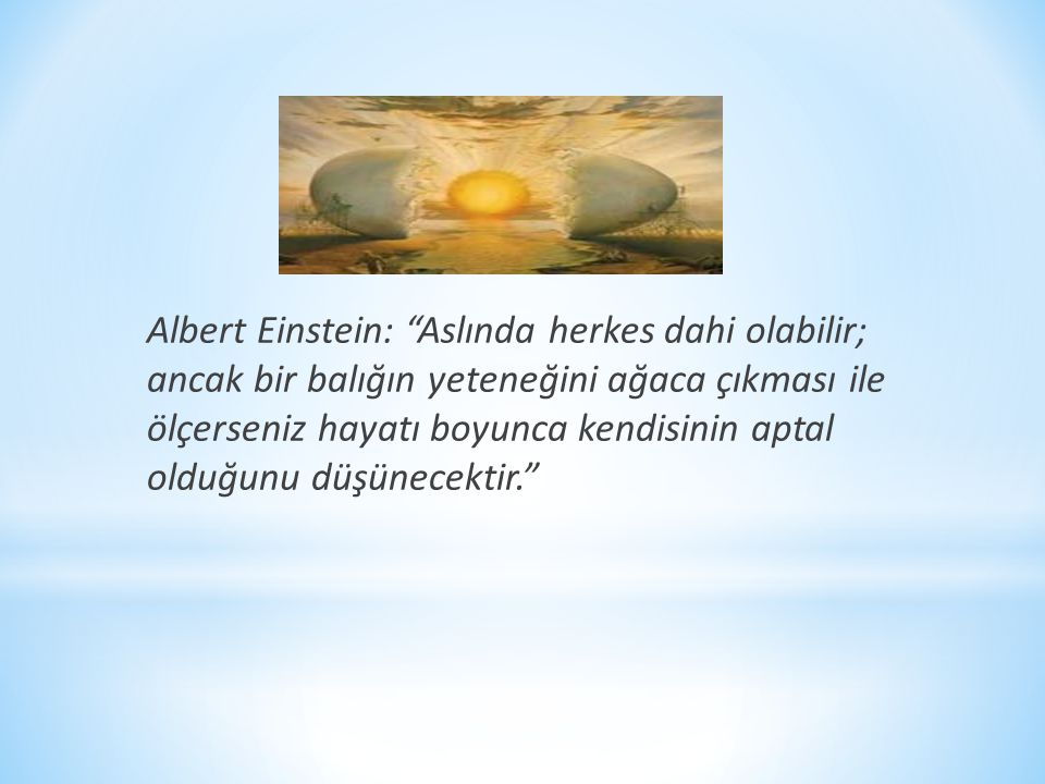 Albert Einstein: Aslında herkes dahi olabilir; ancak bir balığın yeteneğini ağaca çıkması ile ölçerseniz hayatı boyunca kendisinin aptal olduğunu düşünecektir.