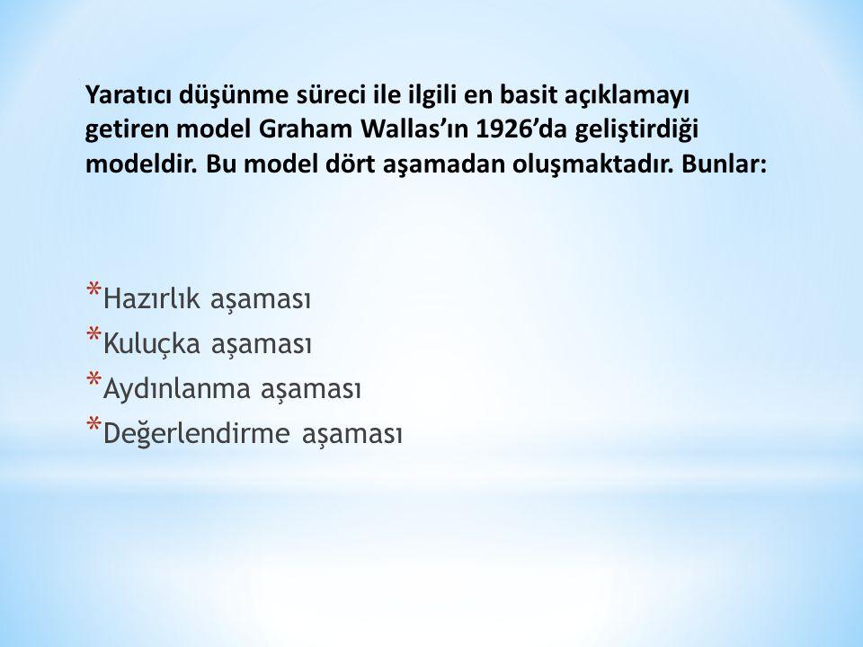 Yaratıcı düşünme süreci ile ilgili en basit açıklamayı getiren model Graham Wallas'ın 1926'da geliştirdiği modeldir. Bu model dört aşamadan oluşmaktadır. Bunlar: