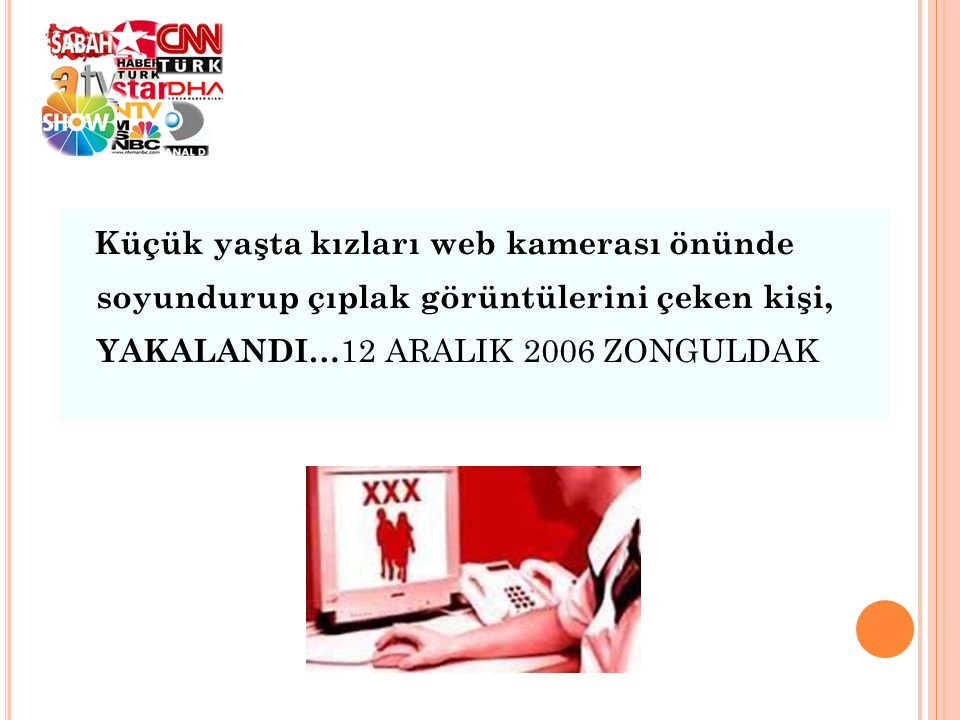 Küçük yaşta kızları web kamerası önünde soyundurup çıplak görüntülerini çeken kişi, YAKALANDI…12 ARALIK 2006 ZONGULDAK
