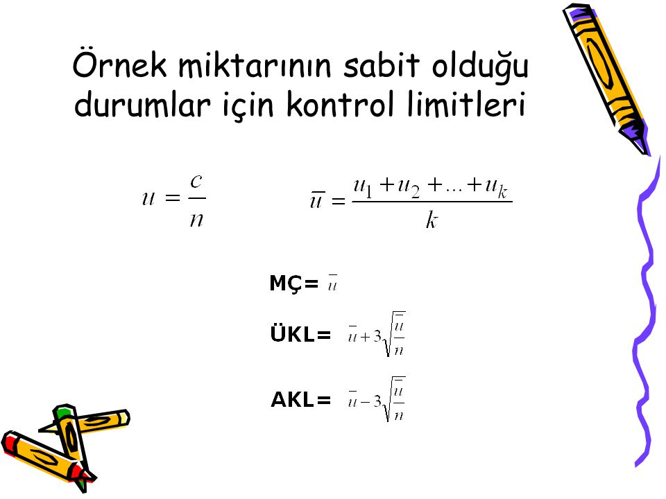 Örnek miktarının sabit olduğu durumlar için kontrol limitleri