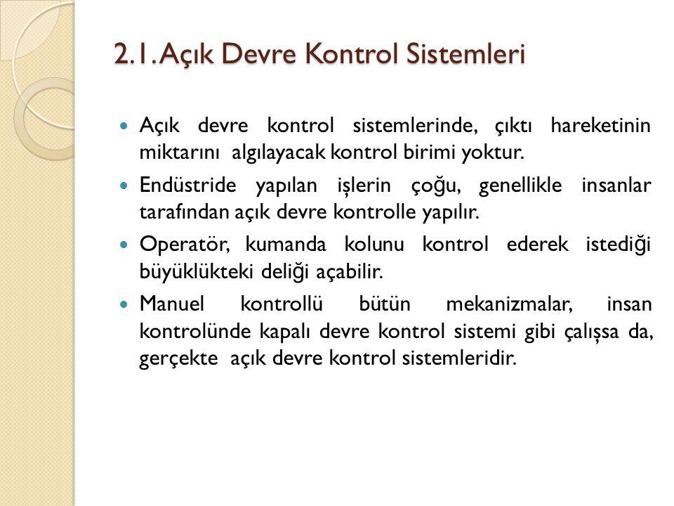 2.1. Açık Devre Kontrol Sistemleri