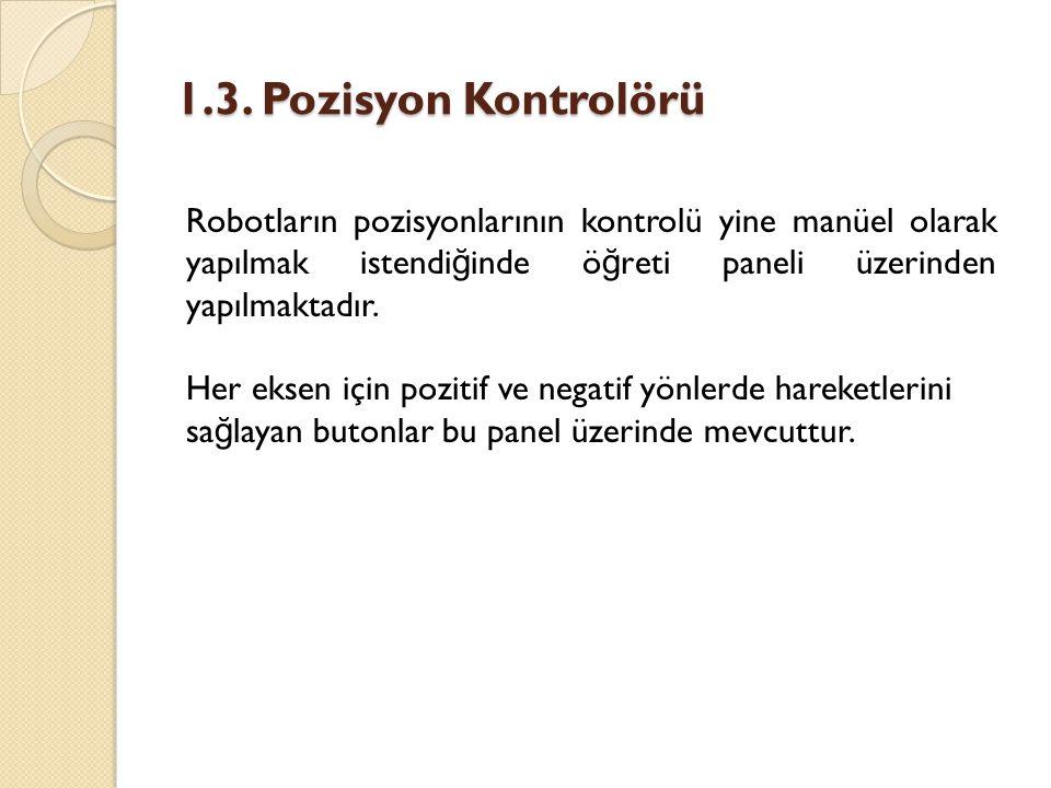1.3. Pozisyon Kontrolörü Robotların pozisyonlarının kontrolü yine manüel olarak yapılmak istendiğinde öğreti paneli üzerinden yapılmaktadır.