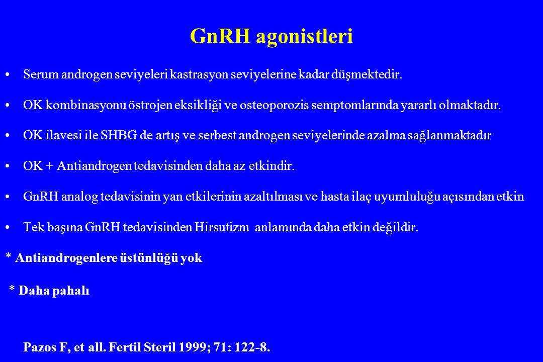 GnRH agonistleri Serum androgen seviyeleri kastrasyon seviyelerine kadar düşmektedir.