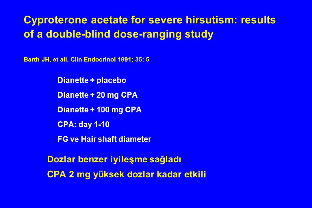 Cyproterone acetate for severe hirsutism: results of a double-blind dose-ranging study Barth JH, et all. Clin Endocrinol 1991; 35: 5