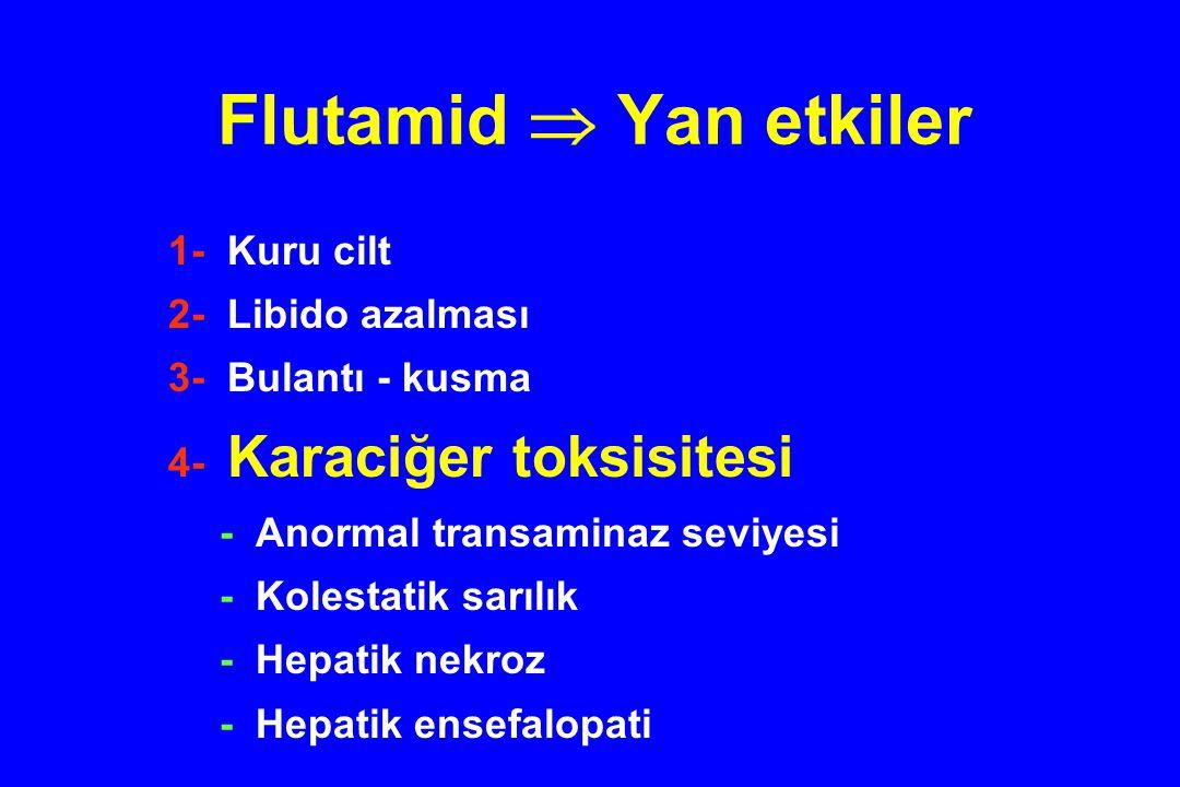 Flutamid  Yan etkiler 1- Kuru cilt 2- Libido azalması