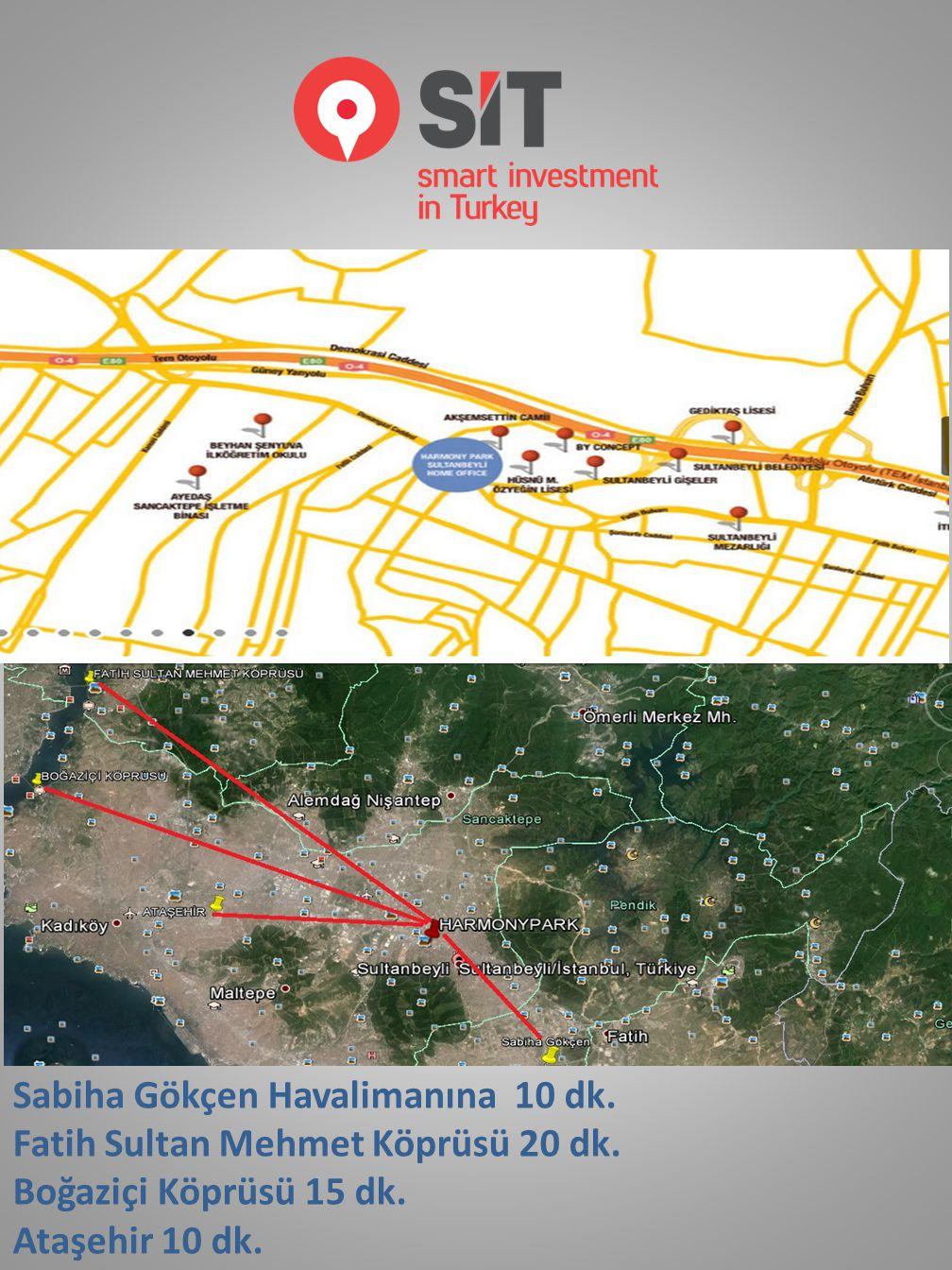 Sabiha Gökçen Havalimanına 10 dk. Fatih Sultan Mehmet Köprüsü 20 dk.