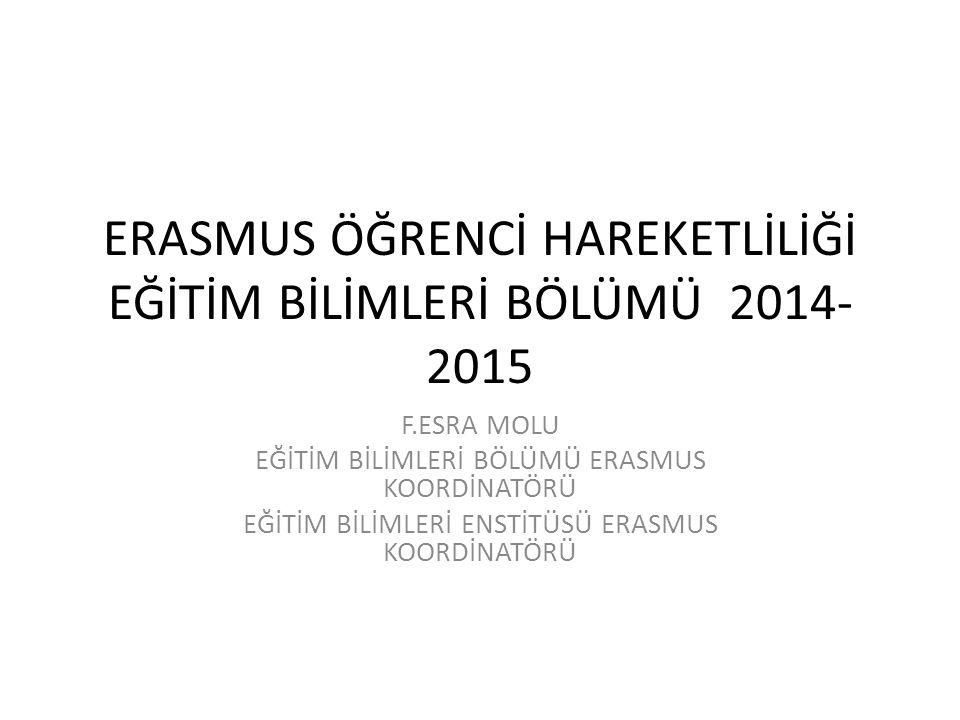 ERASMUS ÖĞRENCİ HAREKETLİLİĞİ EĞİTİM BİLİMLERİ BÖLÜMÜ 2014-2015