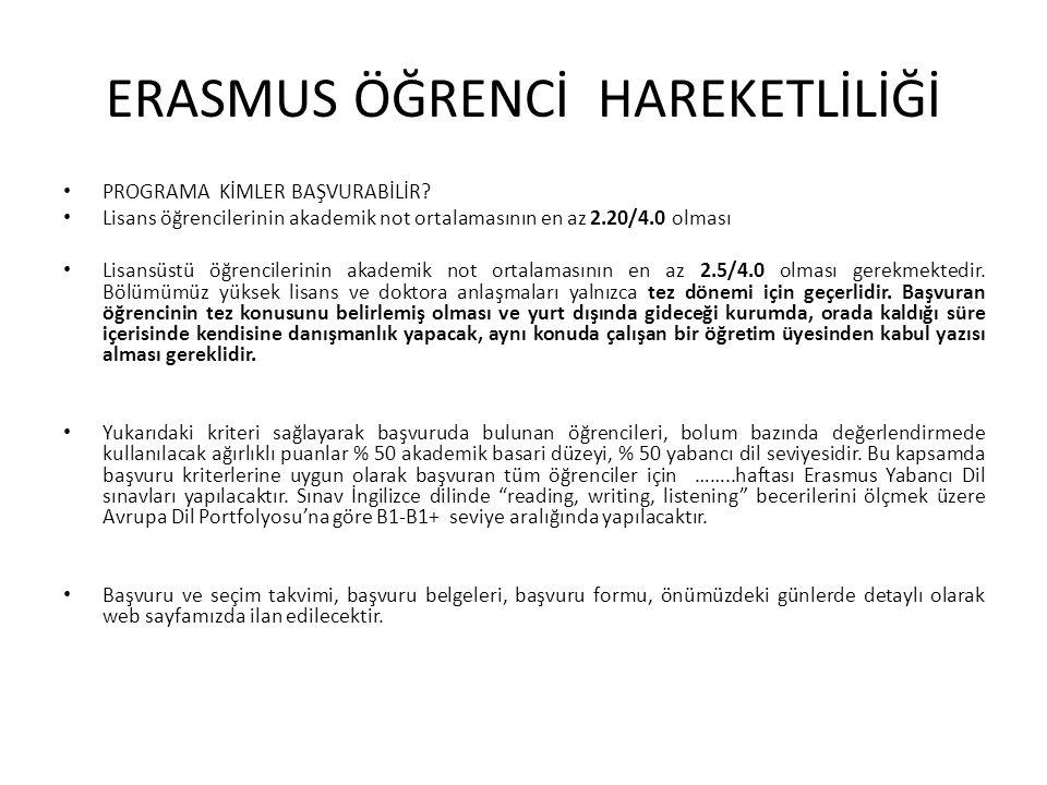 ERASMUS ÖĞRENCİ HAREKETLİLİĞİ