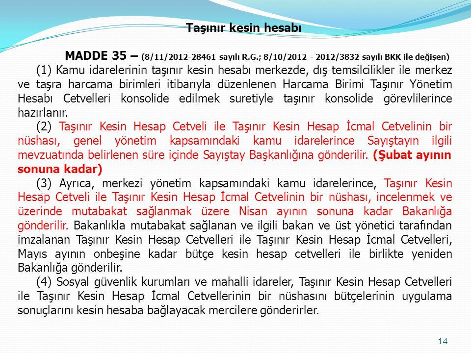 Taşınır kesin hesabı MADDE 35 – (8/11/2012-28461 sayılı R.G.; 8/10/2012 - 2012/3832 sayılı BKK ile değişen)